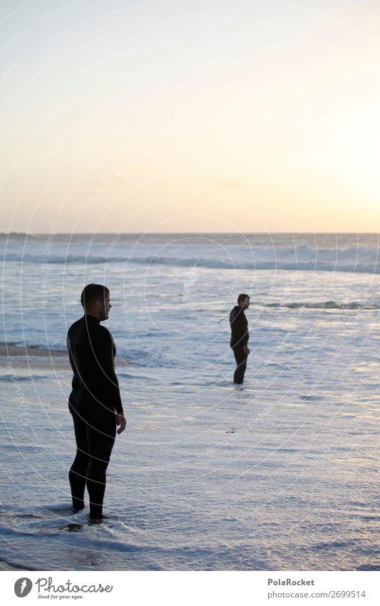 #AS# Zwei Dudes maskulin Junger Mann Jugendliche 2 Mensch Fröhlichkeit Zufriedenheit Lebensfreude Strand Sonnenuntergang Meer Wasser Neoprenanzug genießen