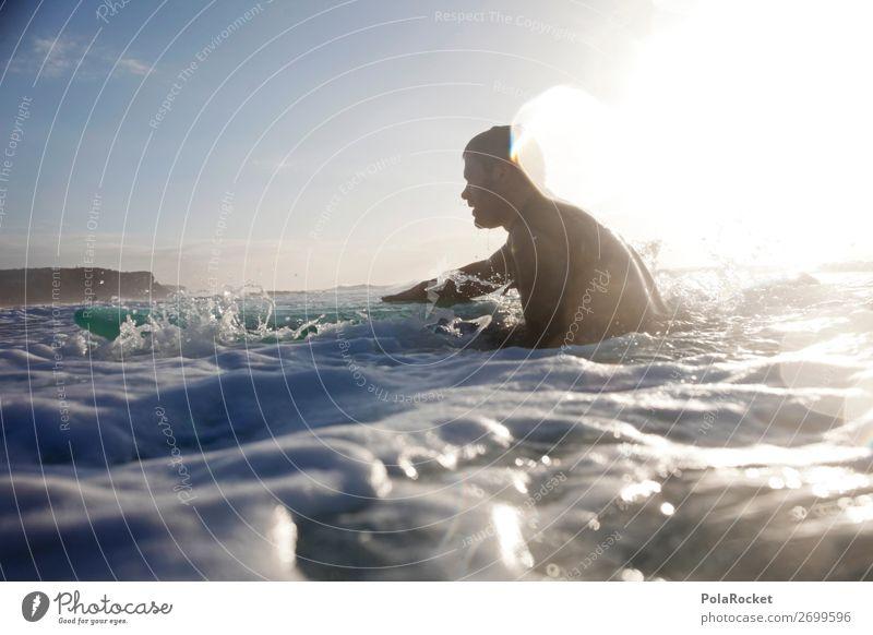 #AS# back out 1 Mensch ästhetisch Surfen Surfer Surfbrett Surfschule Wassersport Farbfoto Gedeckte Farben Außenaufnahme Detailaufnahme Experiment abstrakt