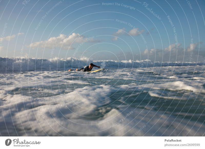 #AS# paddle paddle 1 Mensch ästhetisch Surfen Surfer Surfbrett Surfschule Wellen Meer Fuerteventura Wassersport Farbfoto Gedeckte Farben Außenaufnahme