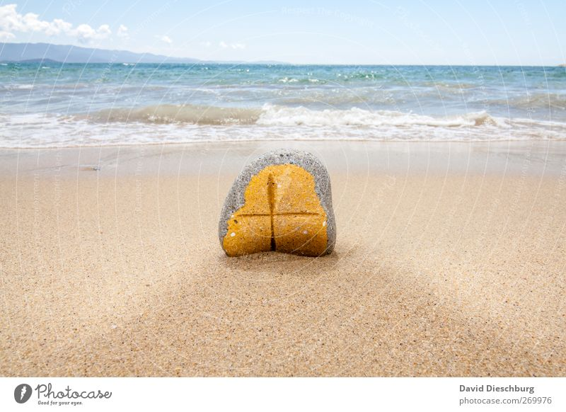 Von Gezeiten freigespült Himmel blau Ferien & Urlaub & Reisen Meer Strand ruhig Erholung Ferne gelb Küste Religion & Glaube Sand Stein Wellen Insel