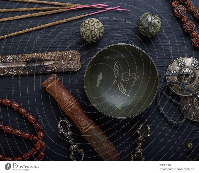 religiöse Objekte für Meditation und alternative Medizin Schalen & Schüsseln Lifestyle Behandlung Alternativmedizin Medikament Tisch Werkzeug Stein Holz oben