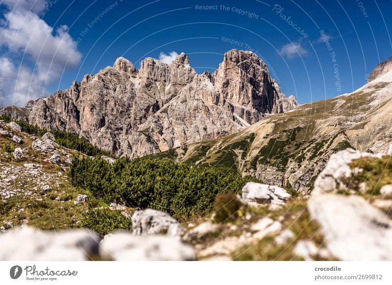 # 832 Drei Zinnen Dolomiten Sextener Dolomiten Weltkulturerbe Hochebene Farbfoto wandern Fußweg Gipfel Bergsteigen Alpen Berge u. Gebirge Schönes Wetter Wiese