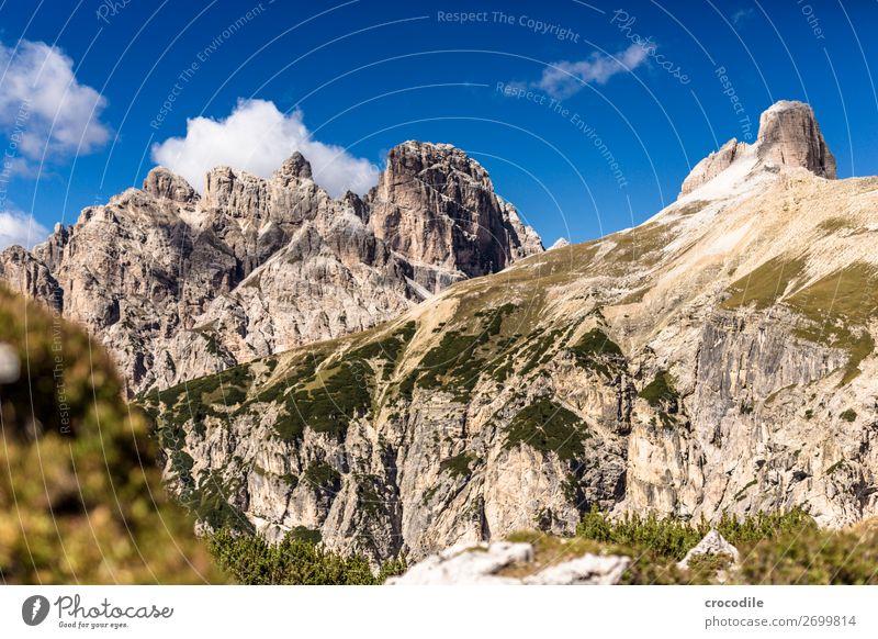 # 830 Drei Zinnen Dolomiten Sextener Dolomiten Weltkulturerbe Hochebene Farbfoto wandern Fußweg Gipfel Bergsteigen Alpen Berge u. Gebirge Schönes Wetter Wiese