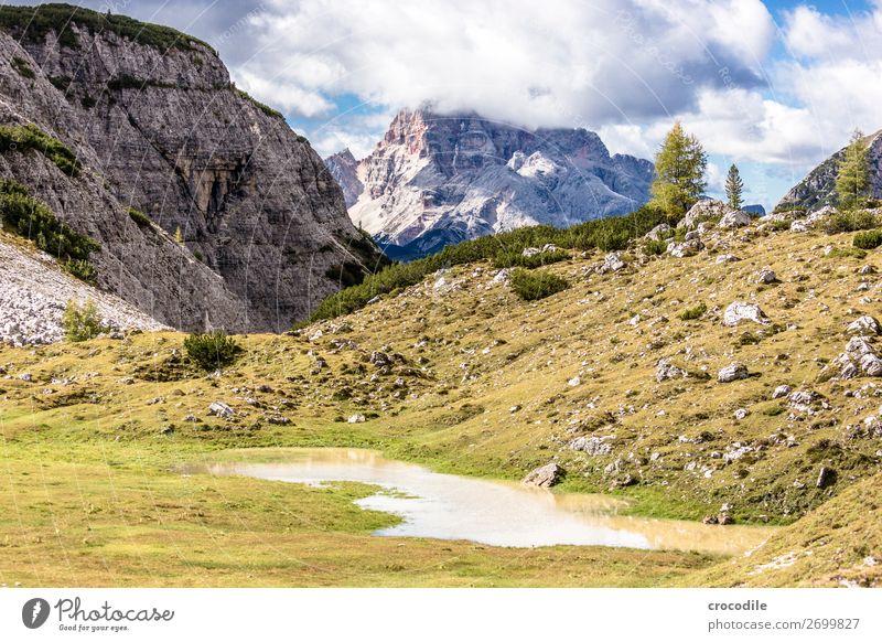 # 826 Drei Zinnen Dolomiten Sextener Dolomiten Weltkulturerbe Hochebene Farbfoto wandern Fußweg Gipfel Bergsteigen Alpen Berge u. Gebirge Schönes Wetter Wiese