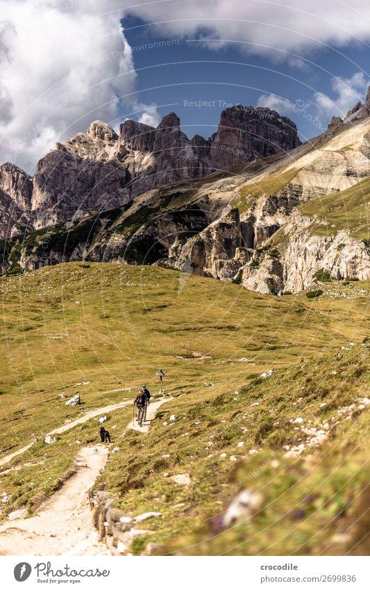 # 818 Drei Zinnen Dolomiten Sextener Dolomiten Weltkulturerbe Hochebene Farbfoto wandern Fußweg Gipfel Bergsteigen Alpen Berge u. Gebirge Schönes Wetter Wiese