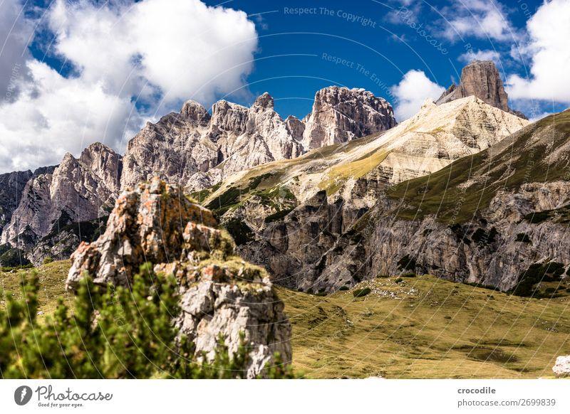 # 790 Drei Zinnen Dolomiten Sextener Dolomiten Weltkulturerbe Hochebene Farbfoto wandern Fußweg Gipfel Bergsteigen Alpen Berge u. Gebirge Schönes Wetter Wiese