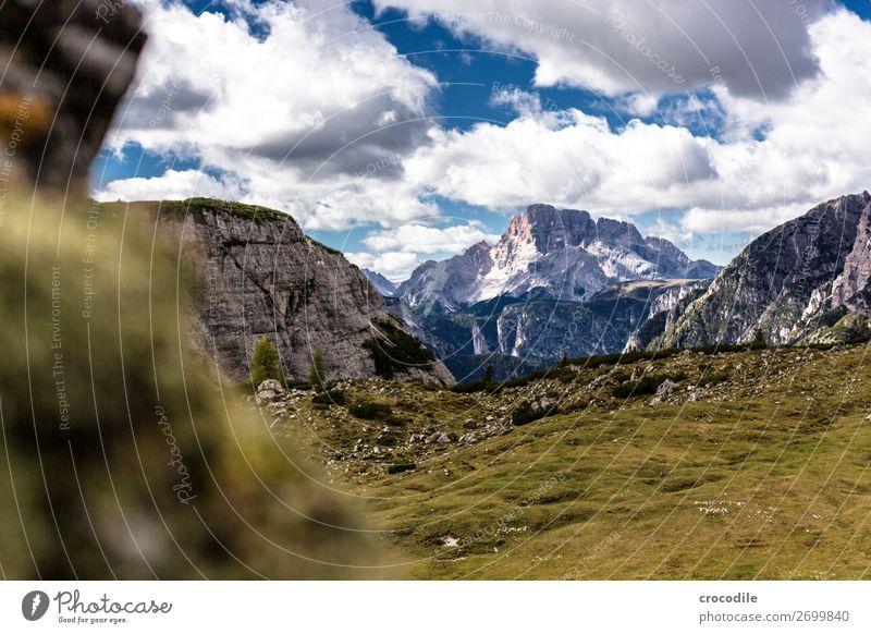 # 791 Drei Zinnen Dolomiten Sextener Dolomiten Weltkulturerbe Hochebene Farbfoto wandern Fußweg Gipfel Bergsteigen Alpen Berge u. Gebirge Schönes Wetter Wiese