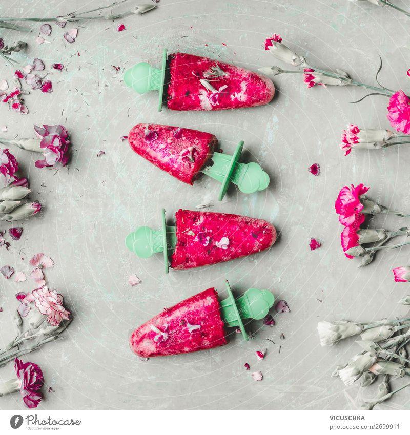 Hausgemachte Eis am Stiel Speiseeis Ernährung Stil Design Gesunde Ernährung Sommer rosa Lollipop Foodfotografie Saft gefroren Farbfoto Studioaufnahme
