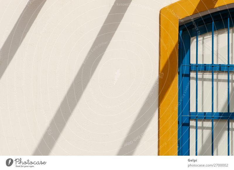 Schöne Fassade Mittelmeerhaus mit Schlagschatten Ferien & Urlaub & Reisen Tourismus Haus Kultur Palast Gebäude Architektur Metall alt historisch retro blau gelb