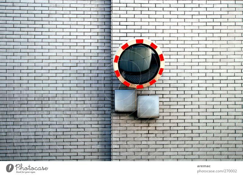 Rücksicht Parkhaus Mauer Wand weiß Spiegel Erinnerung Sandstein Verkehr Verkehrsschild Farbfoto Außenaufnahme Menschenleer Tag