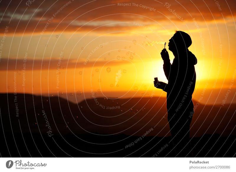 #AS# Leichtigkeit Kunst ästhetisch Seifenblase Freiheit Sonnenuntergang Romantik Silhouette blasen Kreativität Perspektive positiv Lebensfreude Freude Stimmung
