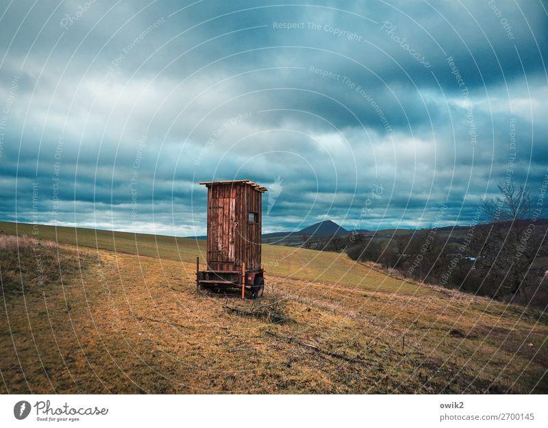 Mobile Schutzhütte Umwelt Natur Landschaft Wolken Horizont Sträucher Feld Wald Sangerhausen Sachsen-Anhalt Hütte Kabine Wege & Pfade stehen Einsamkeit