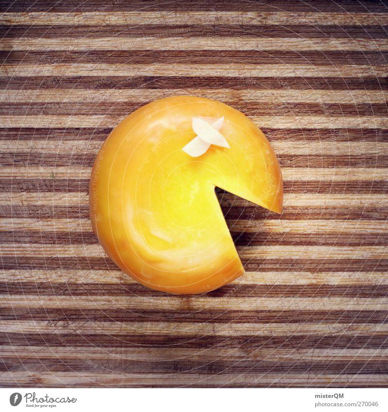 Mister Cheese. Kunst ästhetisch Pacman Käse Käselaib Ernährung Lebensmittel Schneidebrett Küche lustig Game over Alltagsfotografie gelbgold Mund Comic