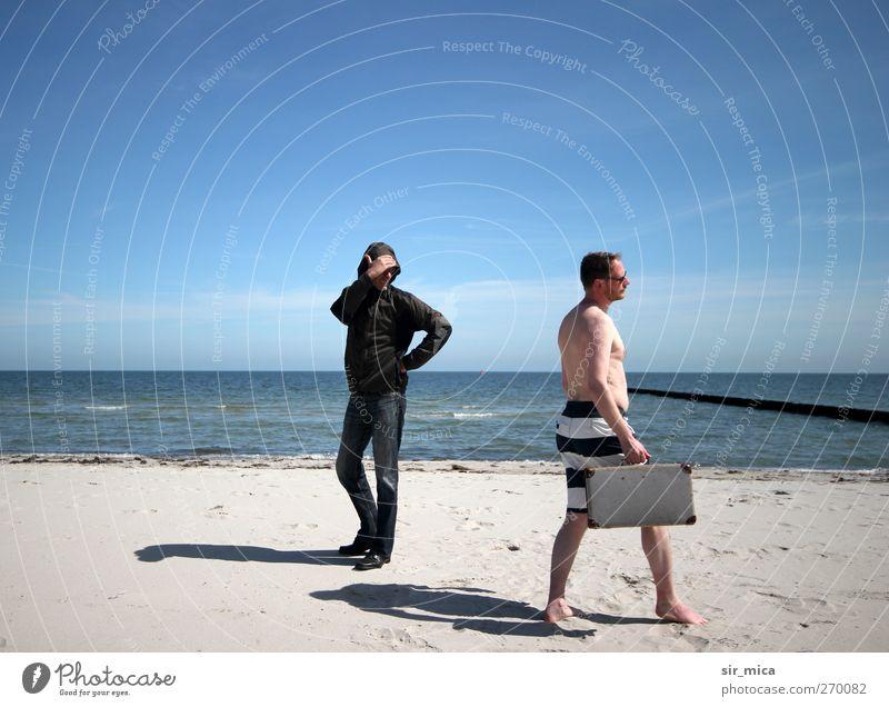 Hiddensee | Rückblickend Mensch alt Sonne Sommer Meer Strand Winter Erwachsene Frühling Denken Körper laufen warten elegant maskulin Haut