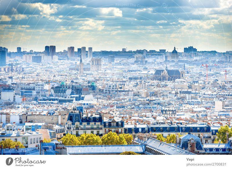 Panorama-Stadt Paris vom Montmartre aus schön Ferien & Urlaub & Reisen Tourismus Ausflug Abenteuer Ferne Sightseeing Städtereise Sommer Sommerurlaub Sonne Haus