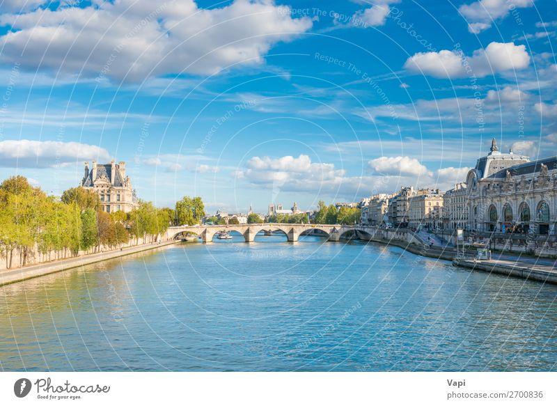 Pariser Stadtlandschaft mit Blick auf die Seine schön Ferien & Urlaub & Reisen Tourismus Ausflug Sightseeing Städtereise Sommer Sommerurlaub Natur Landschaft