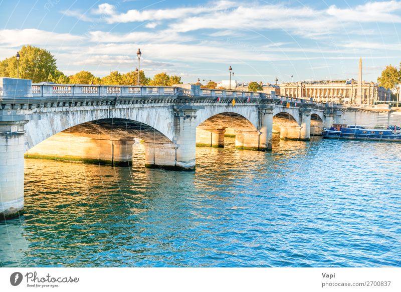 Brücke über die Seine Ferien & Urlaub & Reisen Tourismus Ausflug Sightseeing Städtereise Sommerurlaub Umwelt Landschaft Wasser Himmel Wolken Sonnenaufgang