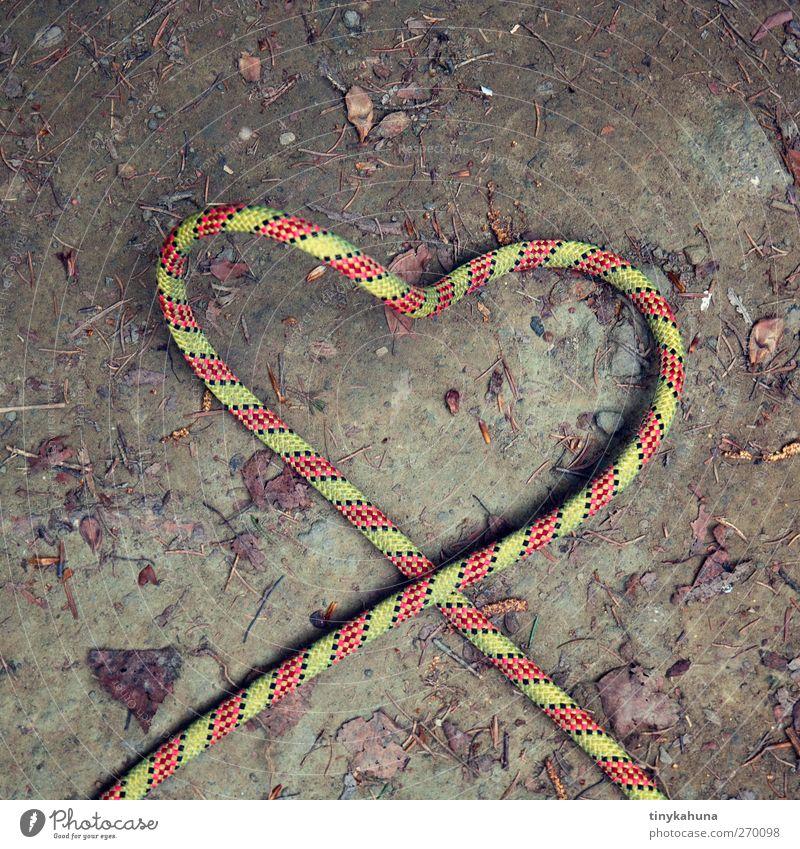 Seil-schafft Liebe Kletterseil Erde Kunststoff Herz einfach Kitsch braun grün rot Frühlingsgefühle Verliebtheit Romantik Leichtigkeit Farbfoto Außenaufnahme