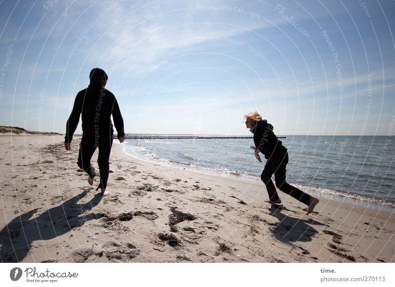 Hiddensee | Unverplante Zeit Mensch maskulin Junger Mann Jugendliche Erwachsene Vater Körper 2 8-13 Jahre Kind Kindheit Sand Wasser Himmel Frühling