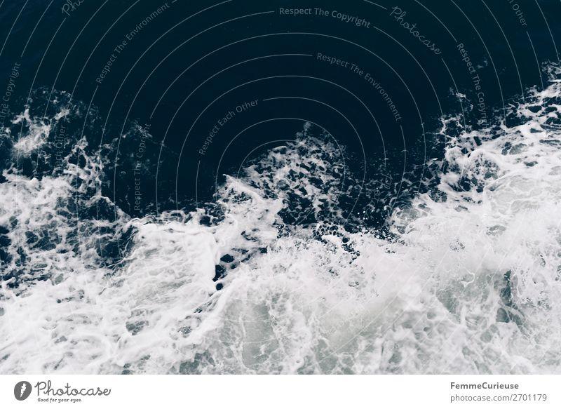 View to waves caused by ferry Natur Ferien & Urlaub & Reisen Wellen Wasser Meer Schaum Farbfoto Außenaufnahme Textfreiraum oben