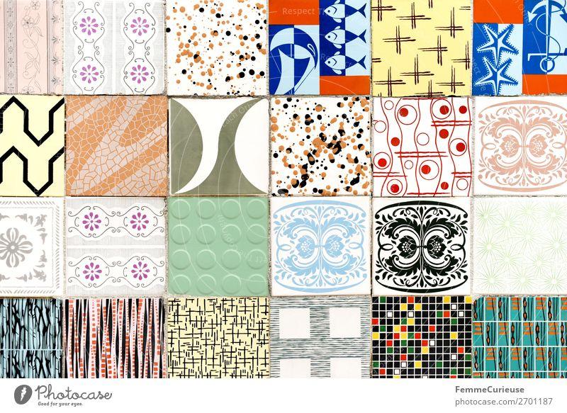 Coloured tiles in Portugal Stadt Design Muster Strukturen & Formen Farbe mehrfarbig Geometrie Quadrat Fliesen u. Kacheln Lissabon Farbfoto Außenaufnahme Tag