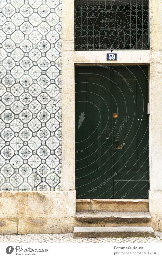Door in Portugal Haus Ferien & Urlaub & Reisen Häusliches Leben grün Reisefotografie Lissabon Fassade Fliesen u. Kacheln mehrfarbig Farbfoto Außenaufnahme