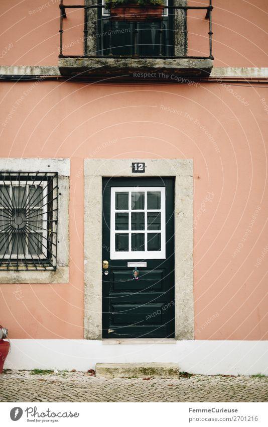 Door in Portugal Ferien & Urlaub & Reisen grün Haus Reisefotografie Fassade rosa Häusliches Leben Tür