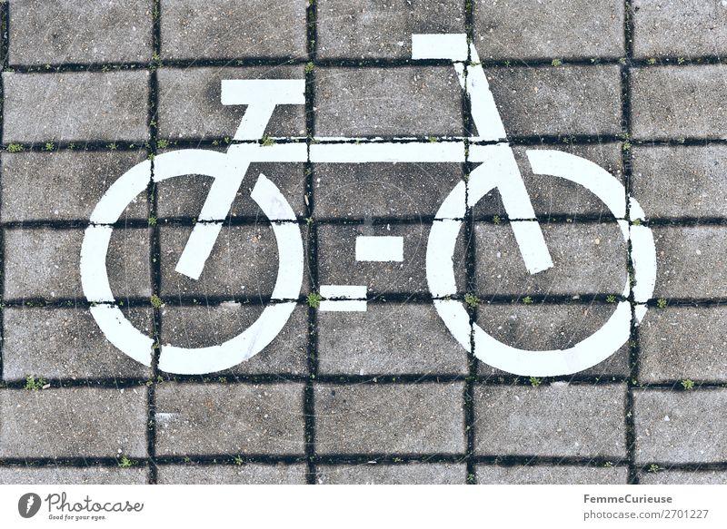 White bicycle symbol on cobblestones Zeichen Schilder & Markierungen Bewegung Fußweg Bürgersteig weiß Pflastersteine Fahrrad Fahrradweg Fahrradfahren