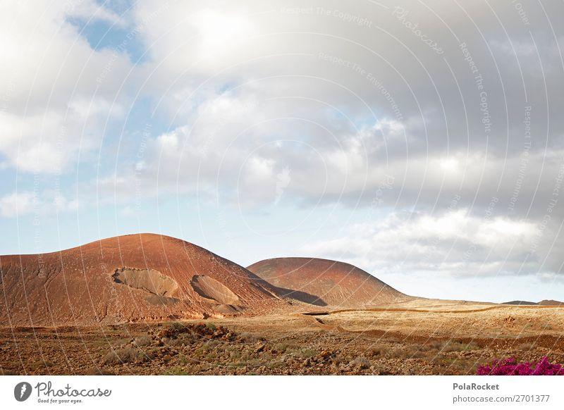 #AS# Mission to Mars Umwelt Natur Landschaft ästhetisch Berge u. Gebirge Vulkan Vulkankrater Vulkaninsel vulkanisch braun Wolken Fuerteventura trocken steinig