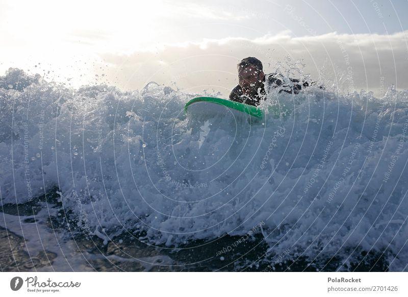 #AS# on the wave Natur ästhetisch Wellen Surfen Surfer Surfbrett Surfschule Gischt Wassersport Farbfoto Gedeckte Farben Außenaufnahme Detailaufnahme Experiment