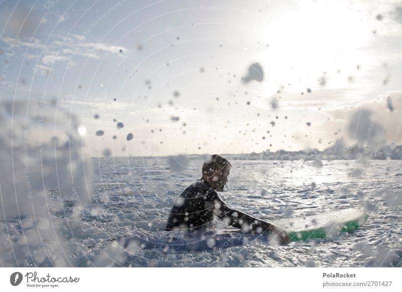 #AS# mittendrin 1 Mensch ästhetisch Surfen Surfer Surfbrett Surfschule Wasser Wassersport spritzen Gischt Meer Aktion Sport sportlich Wellengang Wellenschlag