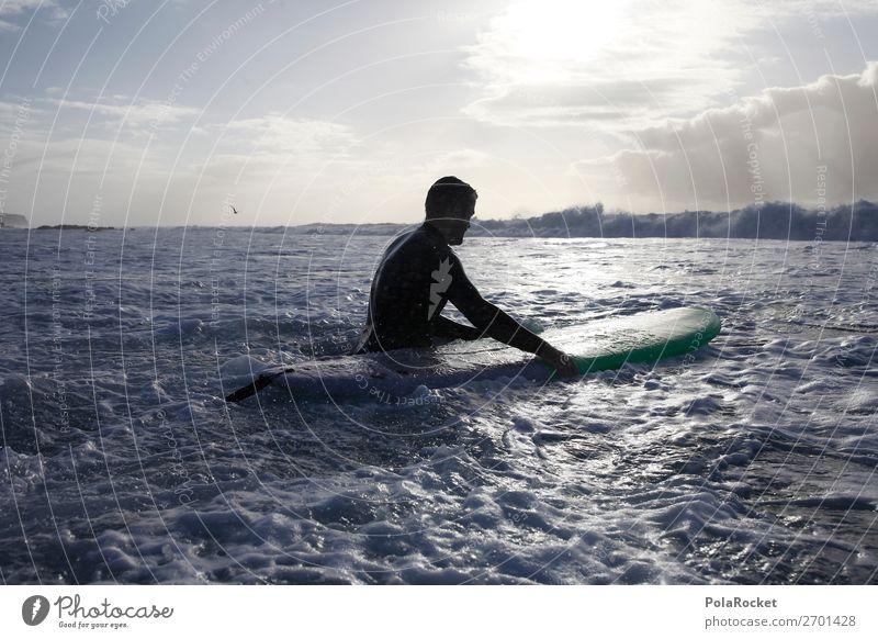 #AS# back 1 Mensch ästhetisch Surfen Surfer Surfbrett Surfschule Meer Meerwasser Wassersport Farbfoto Gedeckte Farben Außenaufnahme Nahaufnahme Detailaufnahme