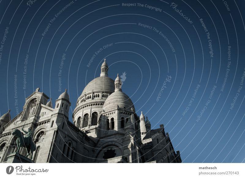 paris blau alt weiß Architektur Gebäude elegant Kirche Europa Bauwerk Paris Frankreich Dom Sehenswürdigkeit Hauptstadt Sacré-Coeur Montmartre