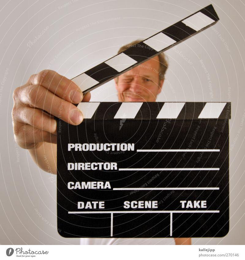 klappe halten Mensch Mann Hand Erwachsene Auge Kopf Kunst Arbeit & Erwerbstätigkeit Fotografie maskulin Beginn Finger Kultur Filmindustrie Beruf Medien