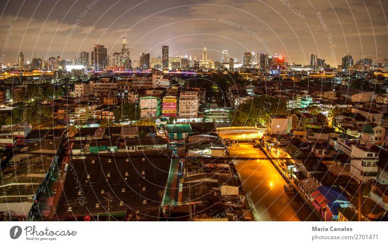 Noche in Bangkok Thailand Asien Stadt Hauptstadt Stadtzentrum Stadtrand überbevölkert Bauwerk Gebäude Architektur turismo viajar noche panoramica Skyline