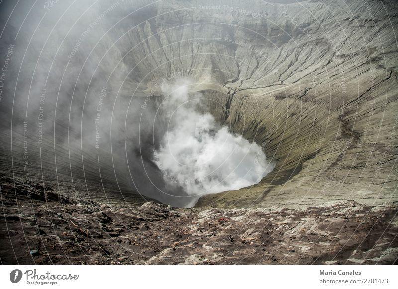 Dentro des Kraters Natur Landschaft Urelemente Erde Sand Feuer Vulkan Bromo Kraterrand Insel Java Indonesien beobachten Humo Innenbereich der Cráter Caldera