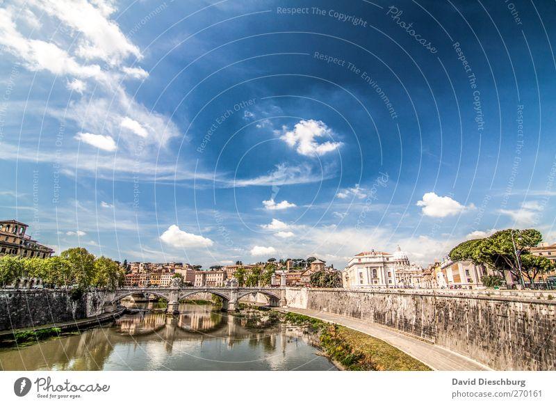 Rom/Tiber Himmel blau alt Wasser Ferien & Urlaub & Reisen Wolken Mauer Reisefotografie Brücke Schönes Wetter Fluss Italien Skyline Sommerurlaub Stadtzentrum