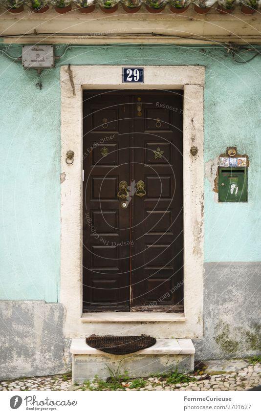 Door in Portugal Ferien & Urlaub & Reisen Haus Reisefotografie Fassade Häusliches Leben Tür türkis