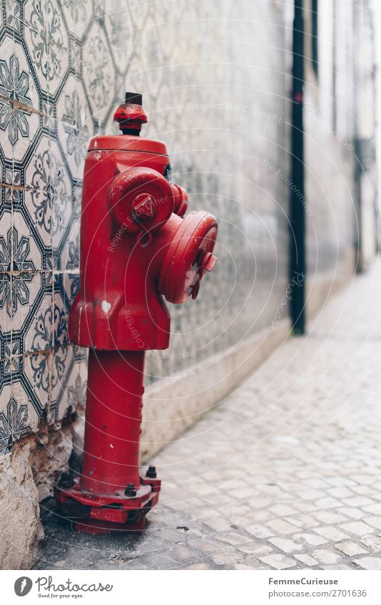 Red hydrant in front of colorful tile wall in Portugal Haus rot Hydrant Wasser Wasserversorgung Fliesen u. Kacheln Fassade mehrfarbig Muster markant