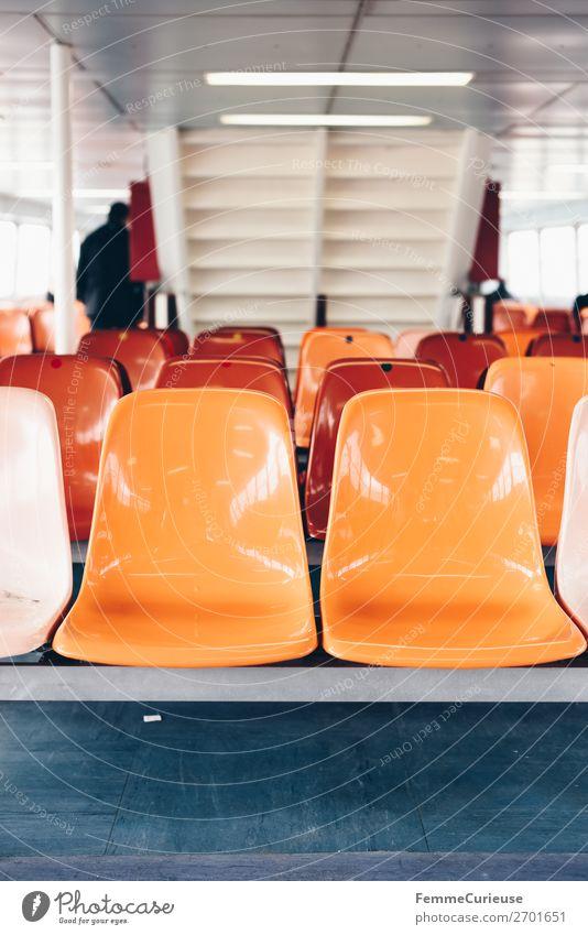 Interior of a ferry with colourful seats Verkehr Verkehrsmittel Personenverkehr Öffentlicher Personennahverkehr Schifffahrt Dampfschiff Fähre