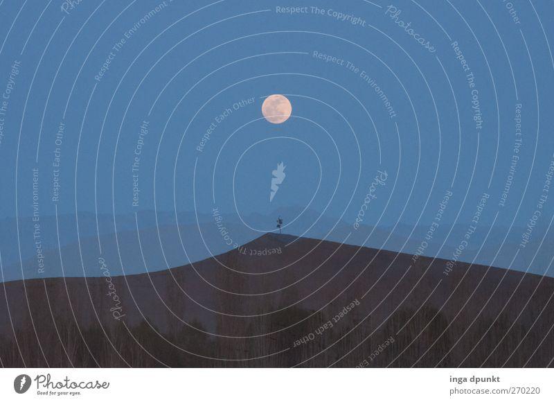 Wüstenmond Umwelt Natur Landschaft Pflanze Urelemente Erde Sand Nachthimmel Horizont Mond Vollmond Düne dunhuang China Gangsu Asien dunkel gruselig trocken