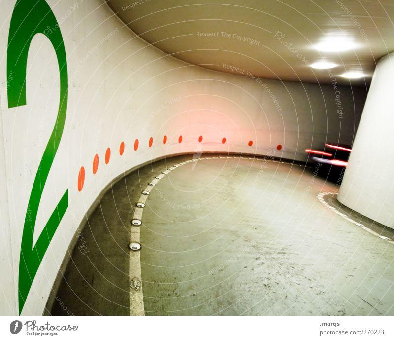 2 Verkehr Verkehrsmittel Verkehrswege Straßenverkehr Autofahren Wege & Pfade Tunnel Parkhaus PKW Zeichen Ziffern & Zahlen außergewöhnlich Geschwindigkeit