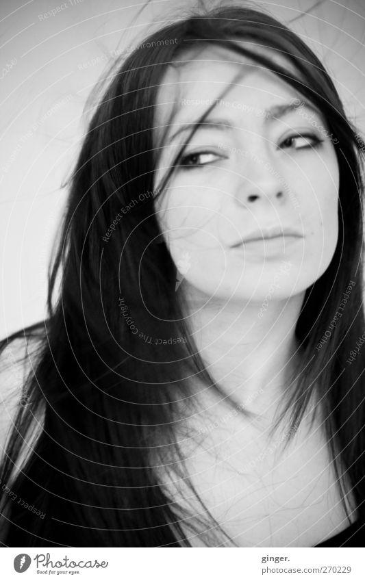 - Frau - Mensch Frau Jugendliche schön Erwachsene Gesicht feminin Haare & Frisuren Stimmung Junge Frau 18-30 Jahre authentisch nachdenklich Sehnsucht Schmerz vertikal