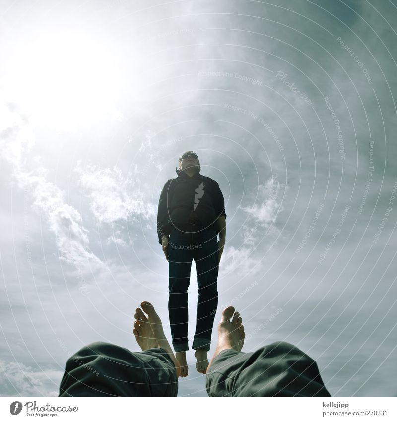 bigfoot Mensch maskulin Mann Erwachsene Leben Körper 2 30-45 Jahre Sonne Sonnenlicht Bekleidung Sonnenbrille springen Beine Sommer luftig Schwerelosigkeit