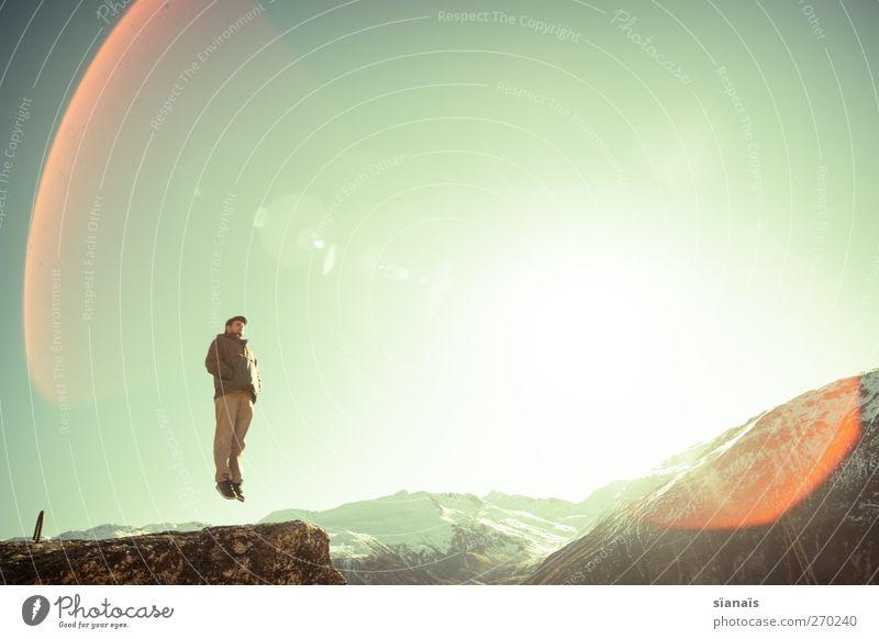 2500m und 30cm über Meer Mensch Mann Natur Ferien & Urlaub & Reisen Sonne Freude Erwachsene Umwelt Landschaft Schnee Berge u. Gebirge springen Luft fliegen