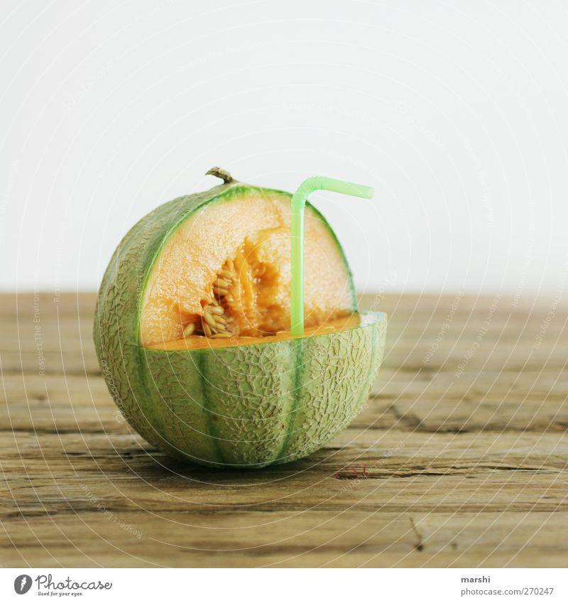 frischer Melonensaft Lebensmittel Frucht Ernährung Getränk trinken Erfrischungsgetränk Saft süß grün orange Cantaloupe Melone saftig geschmackvoll Trinkhalm