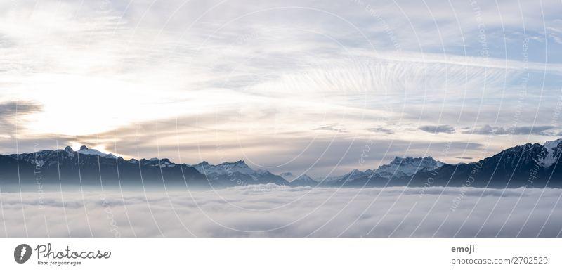 Genfersee Umwelt Natur Landschaft Himmel Winter Nebel Alpen Berge u. Gebirge außergewöhnlich natürlich blau Schweiz Nebelmeer Genfer See Farbfoto Außenaufnahme