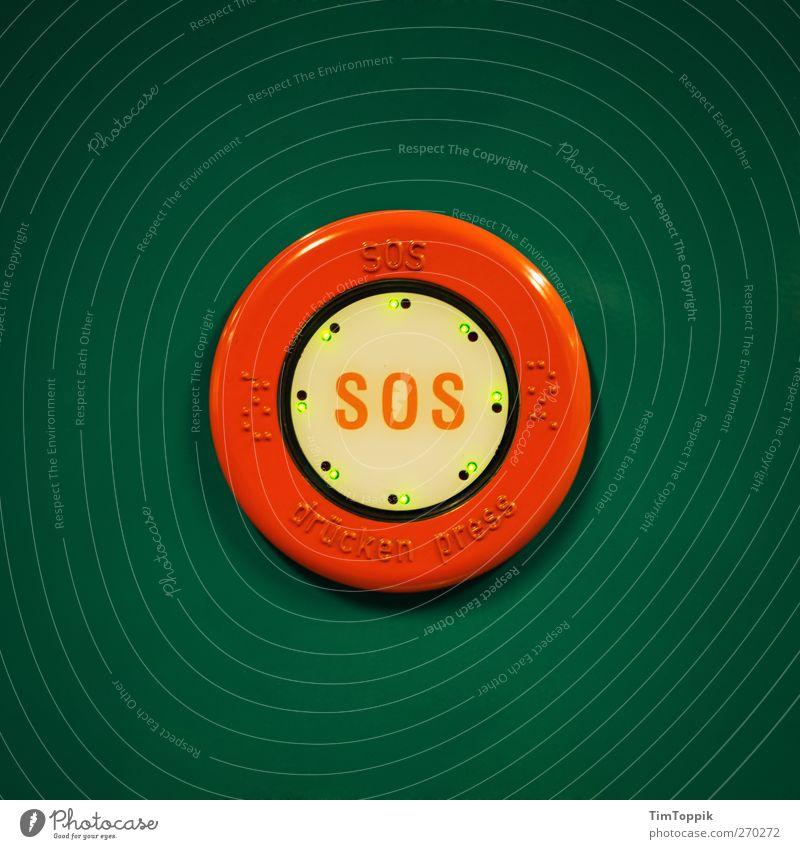 Press SOS! Angst Schilder & Markierungen gefährlich Kreis bedrohlich rund U-Bahn Hilferuf Panik Erste Hilfe Warnung Hilfesuchend drücken