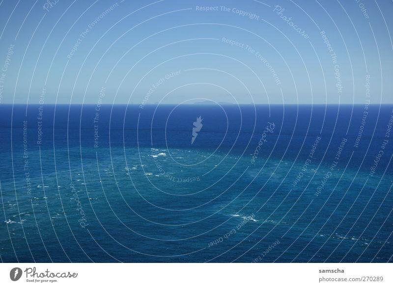 Fernsicht Himmel Natur blau Wasser Ferien & Urlaub & Reisen Sommer Meer Ferne Umwelt Freiheit Küste Wetter Schwimmen & Baden Wellen Zufriedenheit Klima