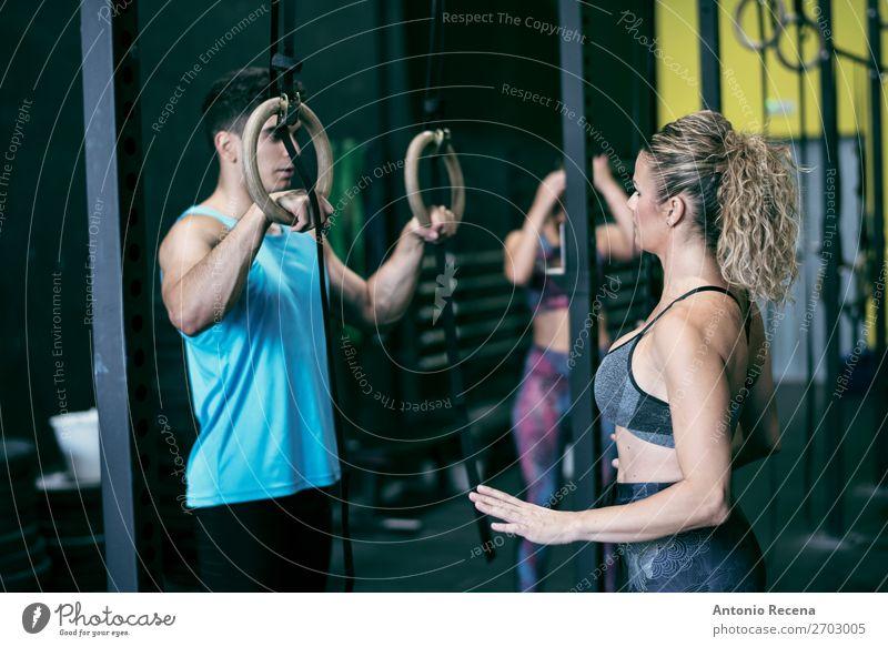 Ausgereifter Trainer Lifestyle Erholung Club Disco Sport Fitness Sport-Training Leichtathletik Lehrer Bildschirm Mensch Frau Erwachsene Mann hängen Erotik
